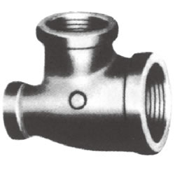 Screw-In Malleable Cast Iron Pipe Fitting, Three-way Reducing Tee with Collar