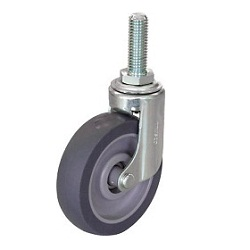 Quiet Caster, Screw-in Type Elastomer Wheel, Swivel