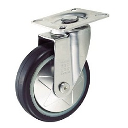 Press-Made Quiet Caster, Rubber Wheel / Stainless Steel Hardware, Swivel