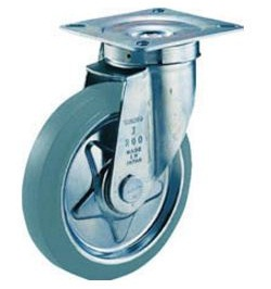 Press-Made Gray Rubber Caster, Swivel