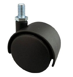 Screw-in Type Dual Wheel Caster, Nylon Wheels, Swivel