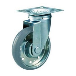 High Tensile Press-Made Gray Rubber Caster with Swivel Hardware