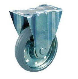 High Tensile Press-Made Gray Rubber Caster with Fixed Hardware