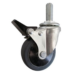 Screw-in Type Silent Caster (Elastomer Wheel) with Swivel Stopper
