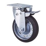 General Caster, Steel, Medium Load Plate Type S Series, Front Pedal Type Swivel/Fixed Switchable SJ-KF (GOLD CASTER)