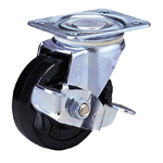Standard Class 100Bs Truck Type Synthetic Rubber Wheel with Roller Bearing and Stopper (Packing Caster)