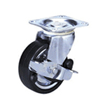 Medium Class 100HBs Truck Type Synthetic Rubber Wheel for Heavy Weights with Roller Bearing and Stopper (Packing Caster)