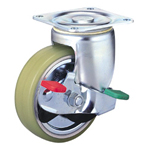 Heavy Class 100HB-PAs Truck Type PA Polyurethane Wheel with Roller Bearing for Heavy Weights with Stopper (Packing Caster)
