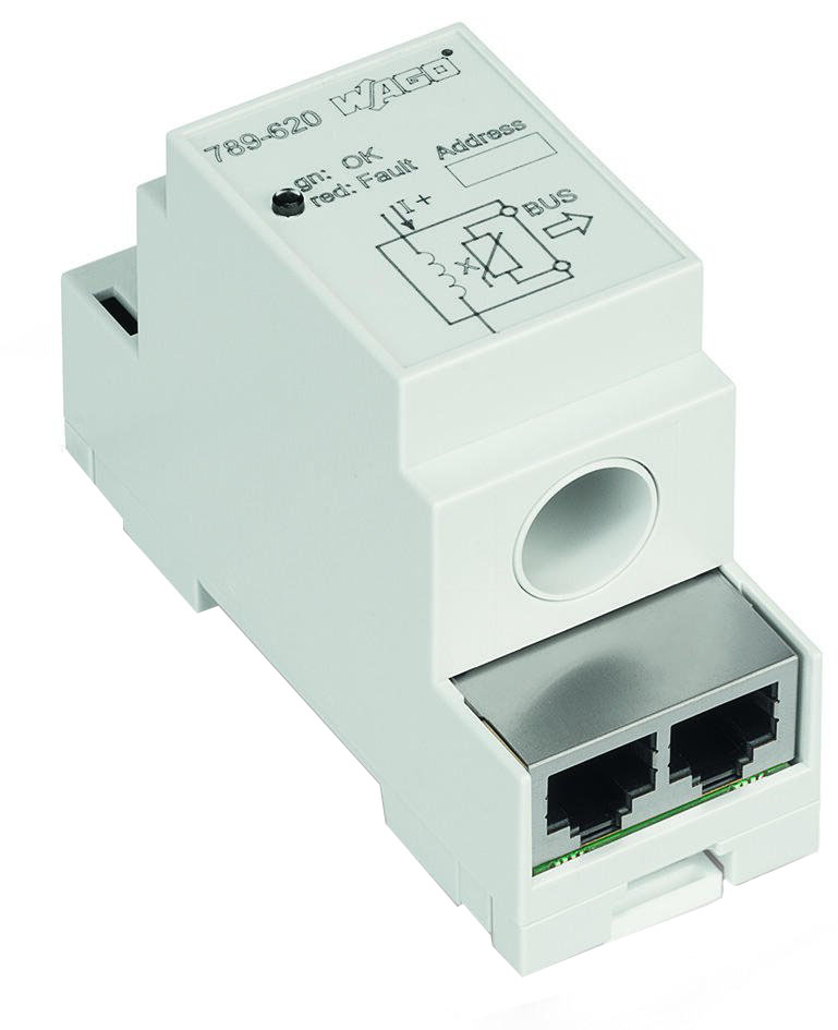 Current sensor with bus connection in DIN-rail mount enclosure
