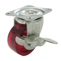 G Type Swivel Wheel with Stopper (Single Bearing) Plate Type, Polycarbonate Wheel