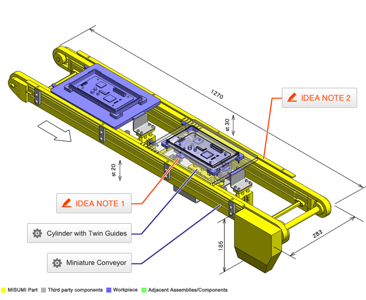 No 000038 Positioning and stopper mechanism for pallet transfer